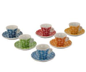 Kaleidos - Set 6 tazzine caffè con piattini decoro VIAREGGIO Multicolor