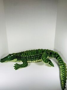 "Large Realistic Green Alligator Plush 41"" By Fiesta, Green Stuffed Reptile Big"