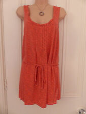 White Stuff size 10 orange sleeveless tunic top with pale floral pattern
