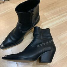 Topshop Black Heeled Boots Western Style Size 6