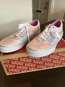 Vans Ward Glitter Tie Dye Girls Trainers Pink Multicoloured Size 13 Unicorn