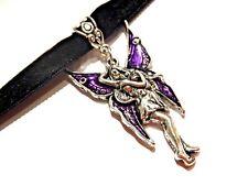 BLACK VELVET PURPLE FAIRY CHOKER silver pendant necklace gothic faerie gothic V5