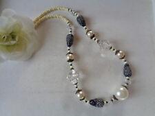 Außergewöhnliche Halskette Creme/kristall/Bronze Vintage-Stil  UNIKAT