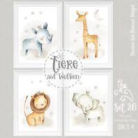 Kinderzimmer Bilder Set Babyzimmer Tiere Bilder Kinder Poster DIN A4 |S26 MONQA4