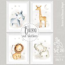 Kinderzimmer Bilder Set Babyzimmer Tiere Bilder Kinder Poster DIN A4 Unisex |S26
