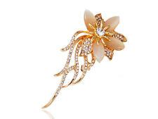Charm Gold Autumn Flower Peach Petal Spiraling Leafs Clear Rhinestone Pin Brooch