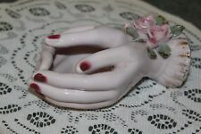 Vintage.Lefton.Ceramic.La dies Hands, With Applied Pink Roses