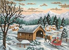 Winter Sleigh Tapestry Needlepoint Canvas