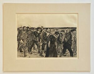 Kathe Kollwitz Original Etching  - March of the Weavers - 1893
