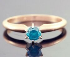 0.33ct Genuine Blue Diamond Solitaire Engagement Yellow Solid 14K 14KT Gold Ring