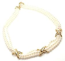 Authentic! Tiffany & Co 18k Yellow Gold Diamond 3 Strand Pearl Necklace