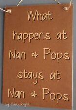 BR Nan and Pops Grandmother Grandad Kids Children Rustic Cute Wooden Sign