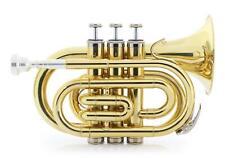 Bb Taschentrompete Trompete Koffer Zubehör Messing Mundstück kompakt Reise Brass
