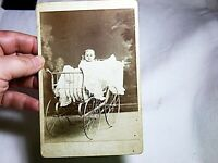 CABINET CARD PORTRAIT OF ADORABLE YOUNG BABY IN ORNATE CARRIAGE - WEST BEND WI.