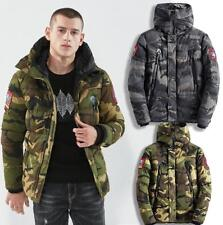 Mens camouflage Quilted Puffer Padded Jacket Coat Hooded Parka Bomber zip up