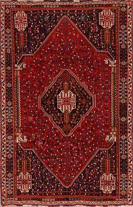 Vintage Geometric Tribal Kashkoli Area Rug Wool Hand-Knotted Oriental Carpet 5x8