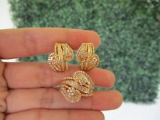 5.09 Carat Diamond Yellow Gold Earrings Ring Set 18K JS71 sep