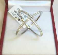 14k Solid White Gold 0.31CT Criss Cross X Style Genuine Diamond Ring. S 6.5