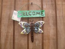 New ~ Dragon Fly Cutout Figure Welcome Sign ~ w/ Glass Gems ~ #1