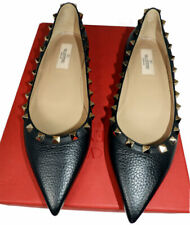 Sz 37.5 Valentino Rockstud Black Tumble Leather Pointy Toe Flats Pumps Shoes