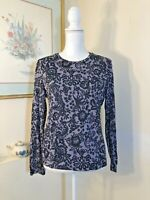 Style & Co Womens Knit Top Grey & Black Lace Size Medium Blouse w Rhinestones