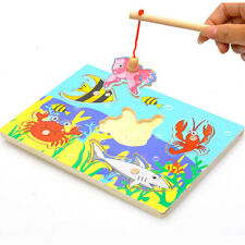 Hot Baby Kids Magnetic Fishing Game + 3D Jigsaw Puzzle Board Development Toys