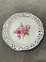 Antique German Meissen Reticulated Porcelain Plate w/ Pink Rose Decoration