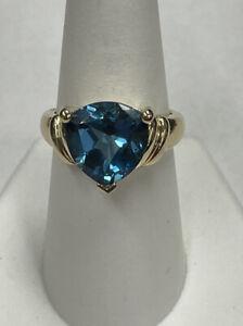 10K Yellow Gold Large Trillion Blue Topaz Ring Size 8