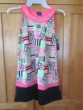 GIRL NEON PINK LIME GREEN FLOWERS PATTERN BLACK WHITE FASHION DRESS NWT 7 8