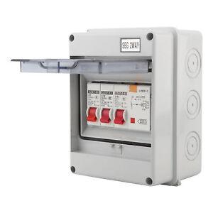 2 Way Garage Weatherproof Consumer Unit Enclosure 40A 30mA RCD+2MCB(6A+16A)