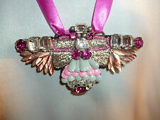 Liberty of London jewelled bug pendant/necklace  Pink/grey/silver/glass   NEW
