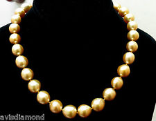 18KT 13M NATURAL SOUTH SEA YELLOW PEARLS NECKLACE .50CT DIAMOND CLASP+