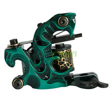New 10 Wrap Coils Aluminum alloy Tattoo Machine for Liner Shader Gun Green Color