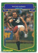1985 Scanlens (27) Wayne HARMES Carlton