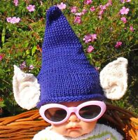 PRINTED KNITTING INSTRUCTIONS-BABY BIG EARS PURPLE PIXIE HAT KNITTING PATTERN