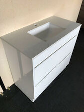 900MM BATHROOM VANITY /SOFT CLOSING DRAWER HIDDEN HANDLES STONE TOP