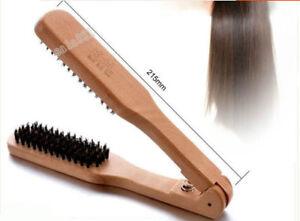 Natural Professional Wooden Straightening Double Brush Hair Straightener V Brush