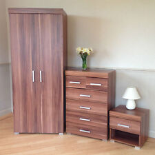 3 Piece Walnut Effect Bedroom Set! Wardrobe, 4+2 Drawer Chest, Bedside Table 6