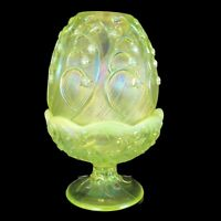 Fenton Glass Fairy Light Candle Holder Lily of the Valley Yellow Topaz Vaseline