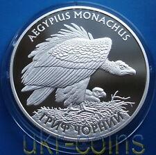 2008 Ukraine 1 Oz Silver Proof Coin Black Vulture Falcon Bird Fauna WWF Wildlife