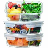 Home Planet Glass Meal Prep Containers 2 Compartment | Glass Lunchbox | 3 Pac...