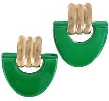 """Vintage 1980S Green Mod Big Door Knocker Pierced Earrings 1 5/8"""""""