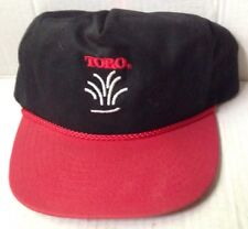 1980s Toro Lawn Mower Grass Baseball Cap, Black, Red Brim, Vintage New Nos