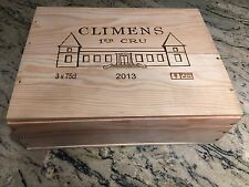 """CH. CLIMENS 2013 SAUTERNES REGION FRENCH WOOD WINE CRATE 13"""" X 10 1/4"""" X 4 1/8"""""""