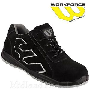 Workforce Safety Steel Toe Cap Black Suede Shoes Trainers Boots Lightweight WF31