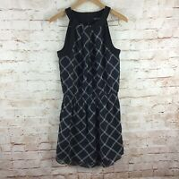 White House Black Market Black White Plaid Sleeveless Halter Dress Size 8
