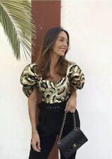 Zara Metallic Thread Puff Sleeve Top Crop Blouse Black Gold Small S 8