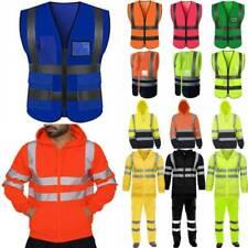 Hi-Viz Safety Visibility Mens Work Hoodies Coat Pants Set Reflective Tracksuit
