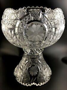 "Antique KUPFER Cut Glass ABP Brilliant GOOD LUCK Pattern 12"" Punch Bowl c. 1913"