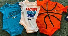 NWT (3) Nike Baby Boys 0-3 Months Bodysuits BornLegend/Crawl Walk Run/Basketball